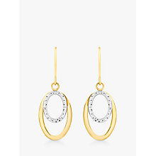 Buy IBB 9ct Gold 2 Tone Double Oval Drop Earrings, White/Gold Online at johnlewis.com