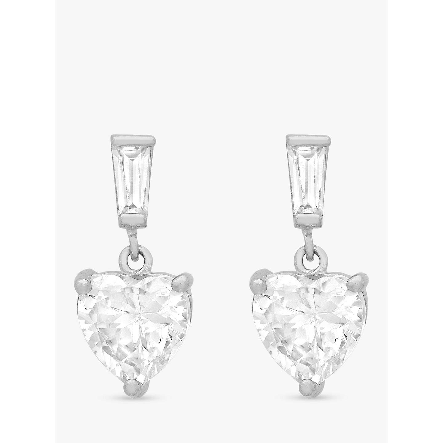 Ibb 9ct White Gold Cubic Zirconia Heart Drop Earrings Online At Johnlewis