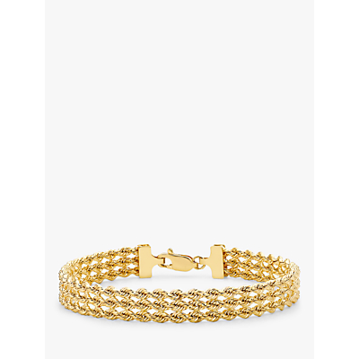 IBB 9ct Gold Hollow 3 Strand Rope Bracelet, Gold