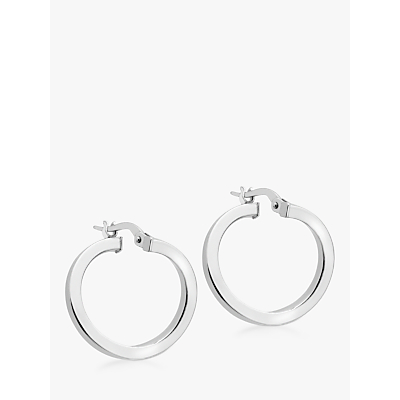 IBB 9ct White Gold Creole Earrings, White
