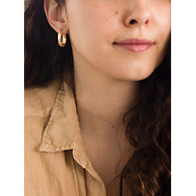 Buy IBB 9ct Yellow Gold Polished Oval Creole Earrings, Gold Online at johnlewis.com