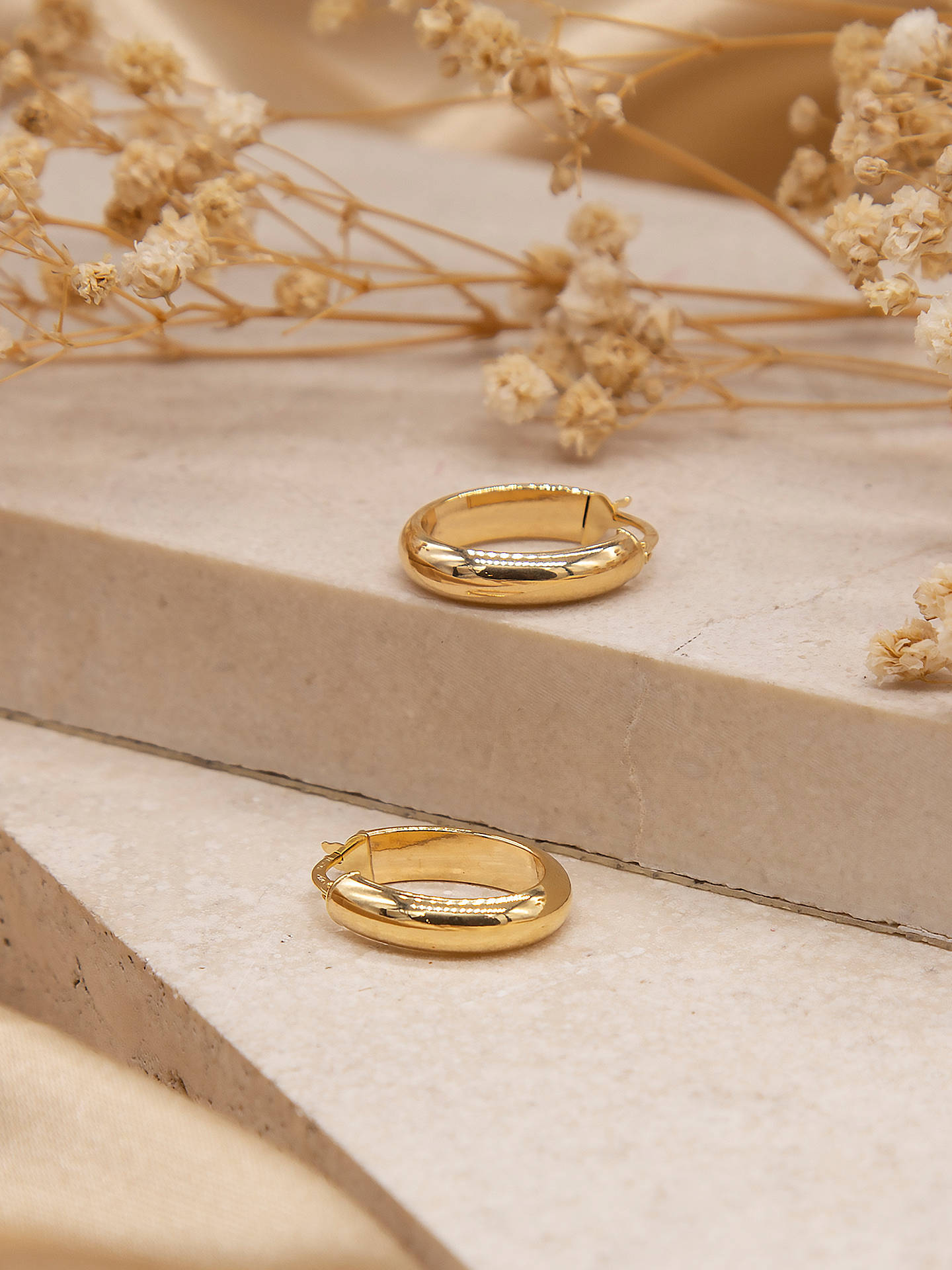 6e4aed52a8338 IBB 9ct Yellow Gold Polished Oval Creole Earrings, Gold