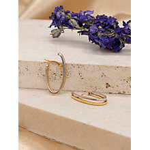 Buy IBB 9ct Gold Two Tone Double Oval Huggy Earrings, White Gold/Gold Online at johnlewis.com