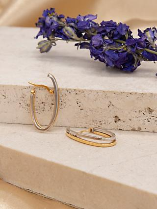 IBB 9ct Gold Two Tone Double Oval Huggy Earrings, White Gold/Gold