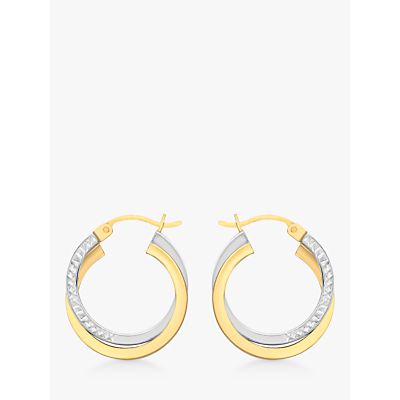 Product photo of Ibb 9ct gold two tone diamondcut crossover creole earrings white gold gold