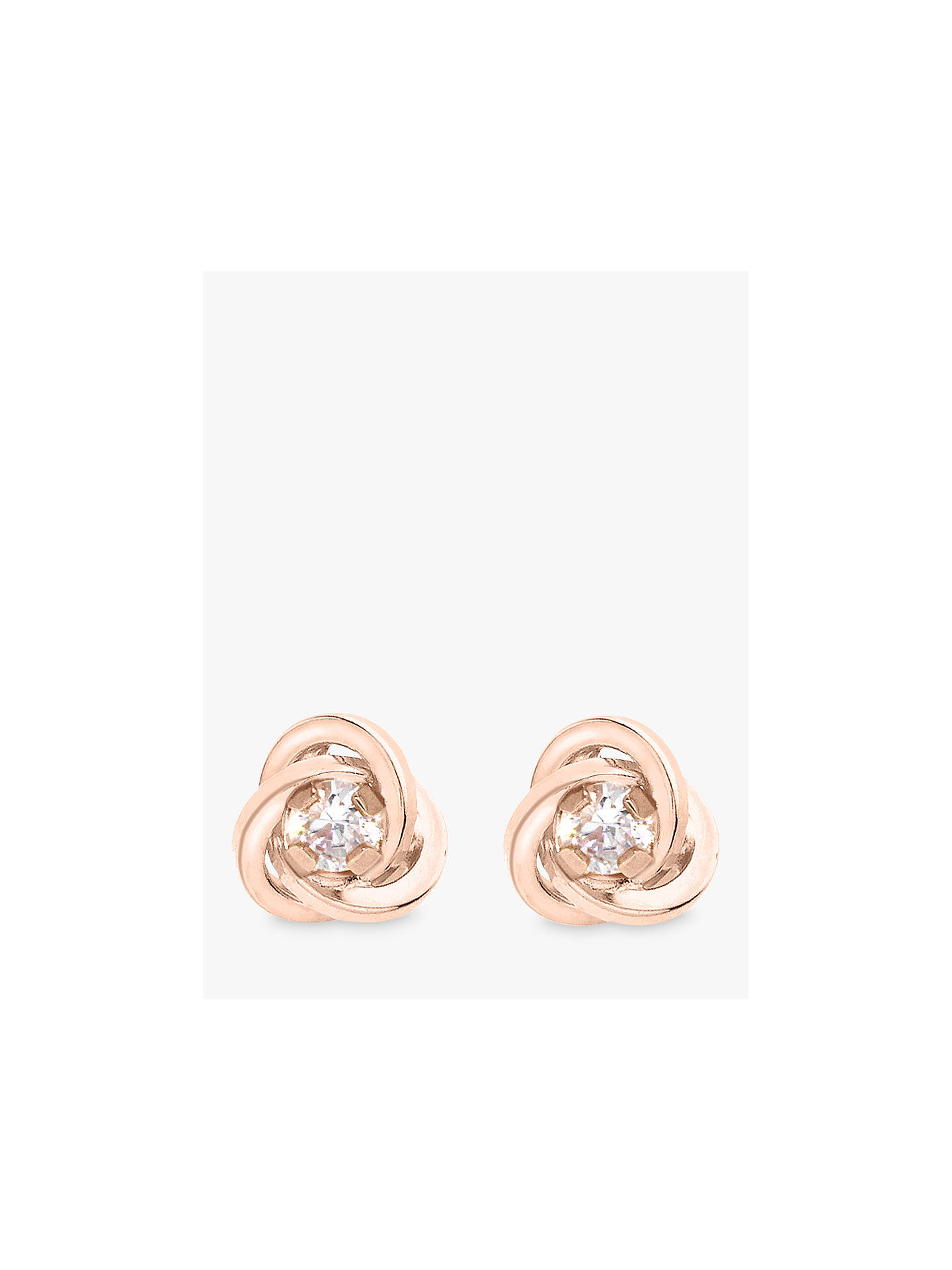 39a25e39c Buy IBB 9ct Gold Knot Stud Earrings, Rose Gold Online at johnlewis.com ...