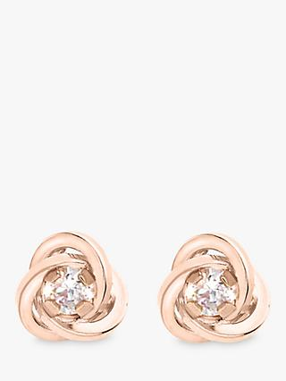 IBB 9ct Gold Knot Stud Earrings, Rose Gold