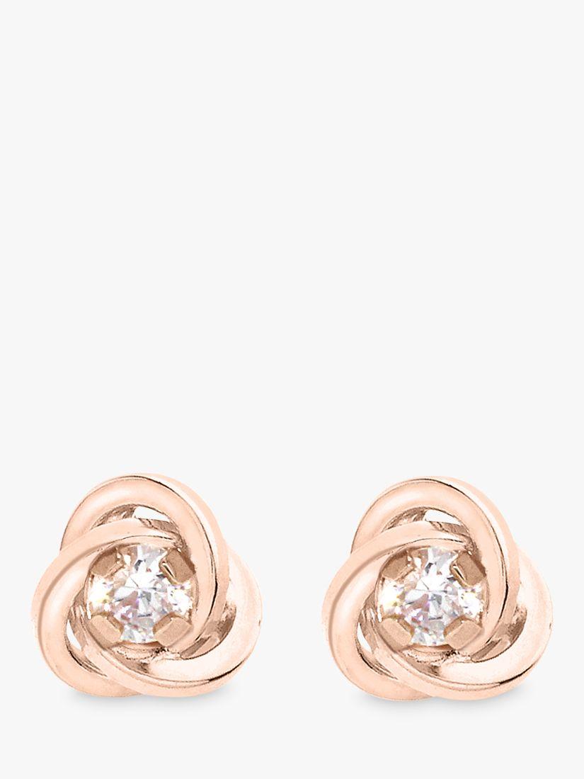 IBB IBB 9ct Gold Knot Stud Earrings, Rose Gold