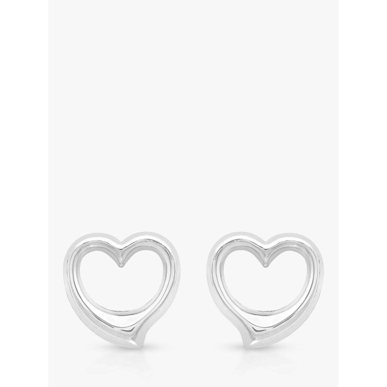 Ibb 9ct White Gold Heart Stud Earrings Online At Johnlewis