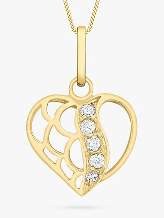 IBB 9ct Gold Cubic Zirconia Open Heart Pendant, Gold