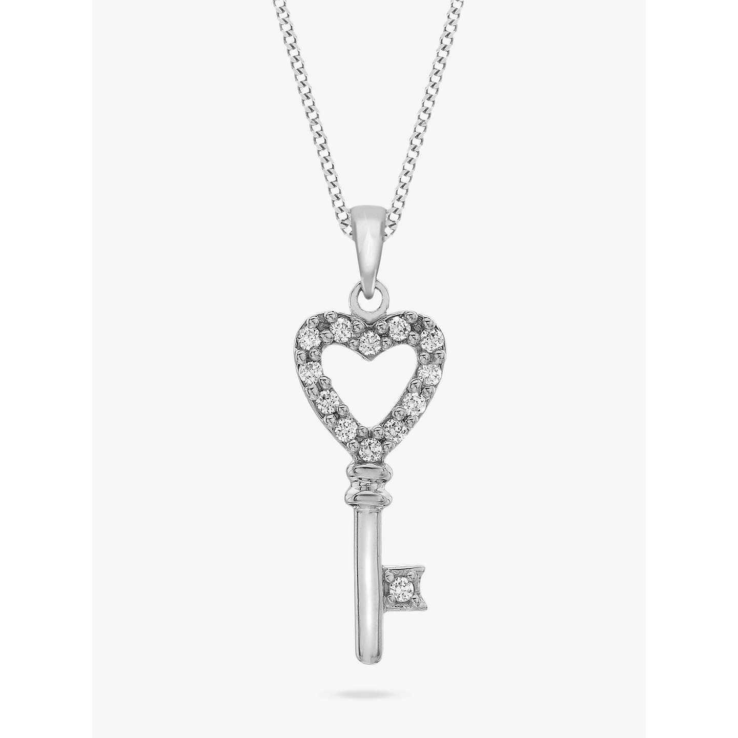 Ibb 9ct white gold cubic zirconia key pendant at john lewis buyibb 9ct white gold cubic zirconia key pendant online at johnlewis aloadofball Image collections