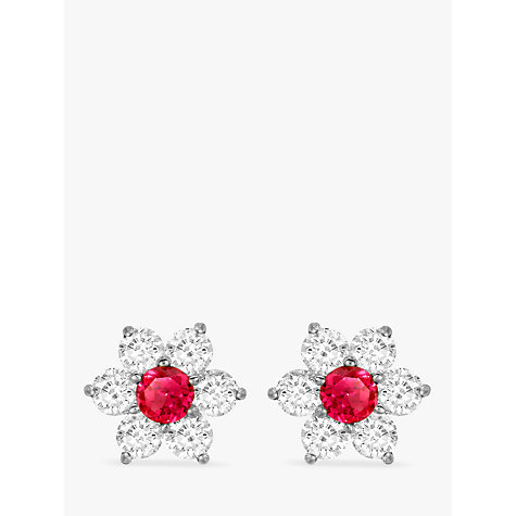 Buy IBB 9ct White Gold Flower Cluster Stud Earrings Online at johnlewis.com