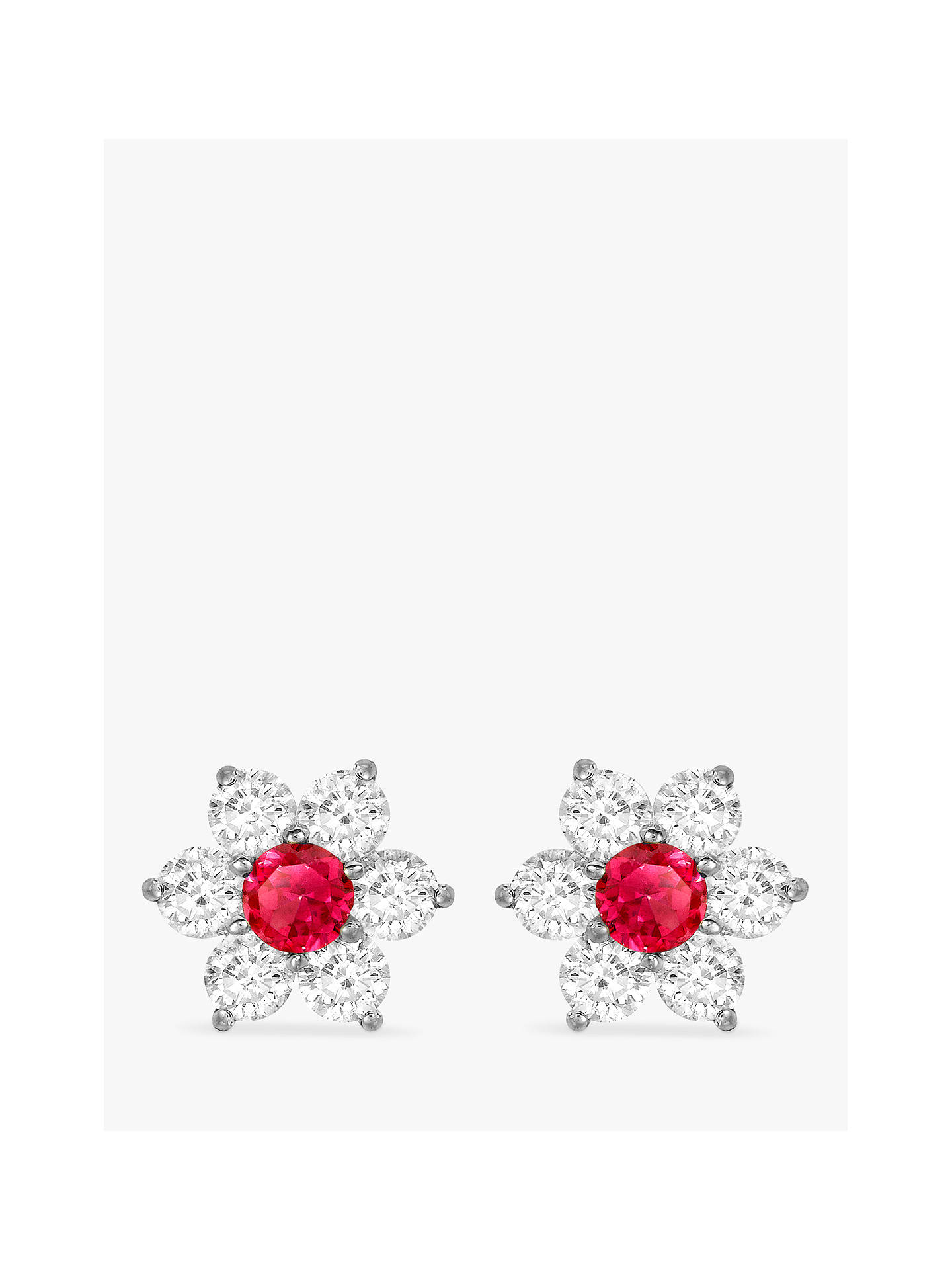 a33d3ee44ae76 IBB 9ct White Gold Flower Cluster Stud Earrings, White/Red