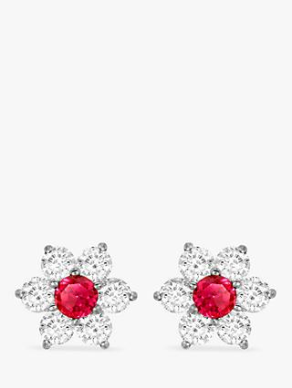 IBB 9ct White Gold Flower Cluster Stud Earrings