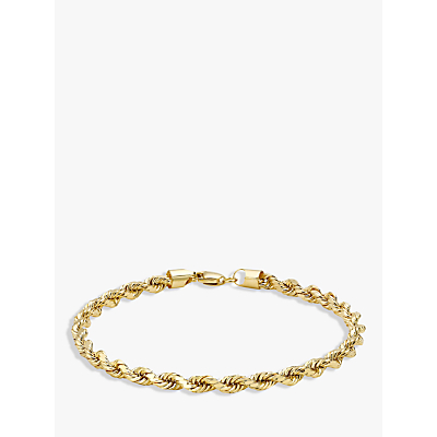 IBB 9ct Yellow Gold Hollow Diamond-Cut Rope Bracelet, Gold