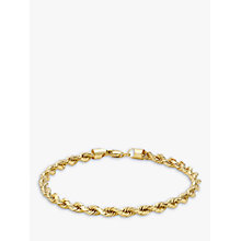 Buy IBB 9ct Yellow Gold Hollow Diamond-Cut Rope Bracelet, Gold Online at johnlewis.com