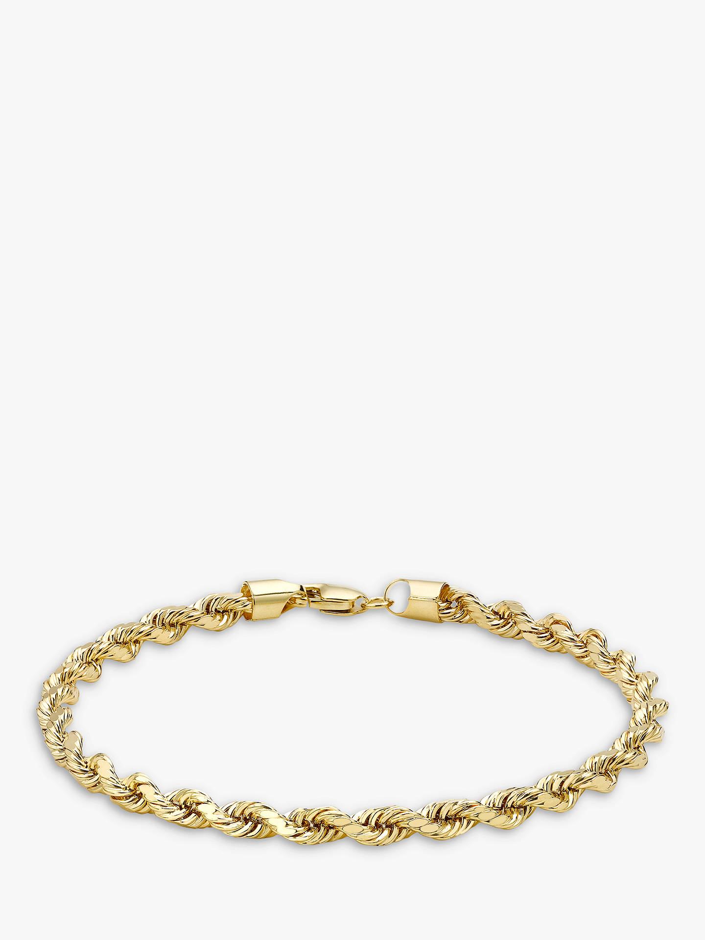 Ibb 9ct Yellow Gold Hollow Diamond Cut Rope Bracelet Online At Johnlewis