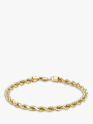 IBB 9ct Yellow Gold Hollow Diamond-Cut Rope Bracelet, Gold