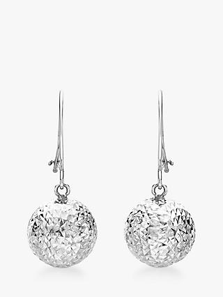 IBB 9ct White Gold Ball Diamond-Cut Drop Earrings, White