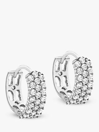 IBB 9ct White Gold 3 Row Cubic Zirconia Hoop Earrings, White