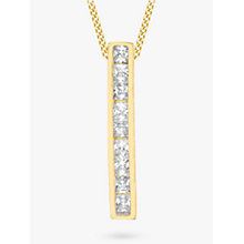 Buy IBB 9ct Gold Cubic Zirconia Bar Drop Slider Pendant, Gold Online at johnlewis.com