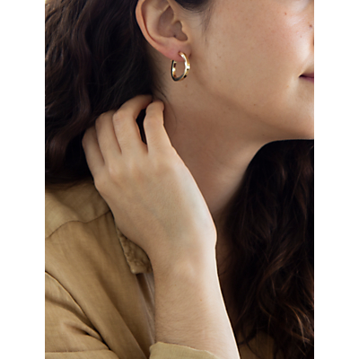 Image of IBB 9ct Yellow Gold Triangle Shaped Creole Earrings, Gold