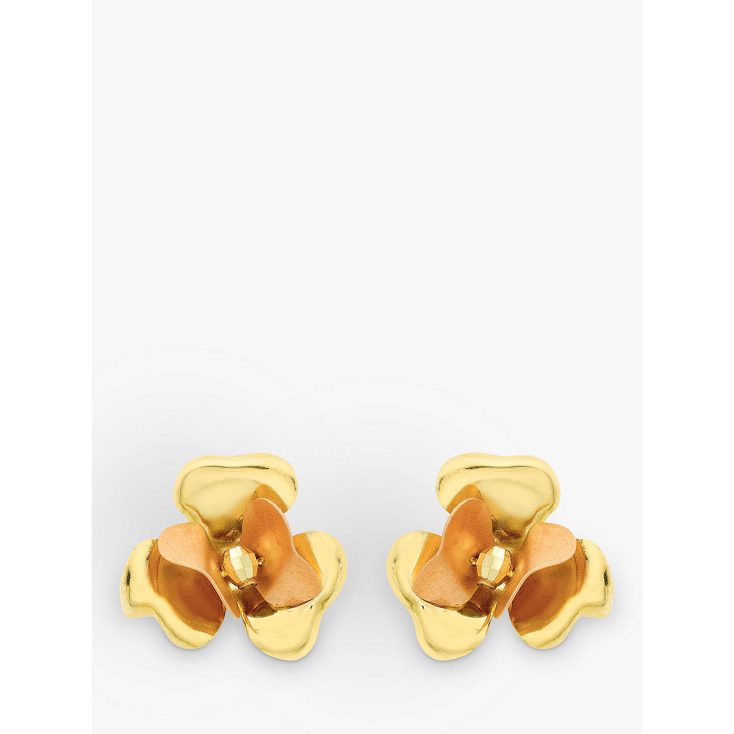 earrings multi gold satin in large polished and flower yellow white diamond big giovane stud loading