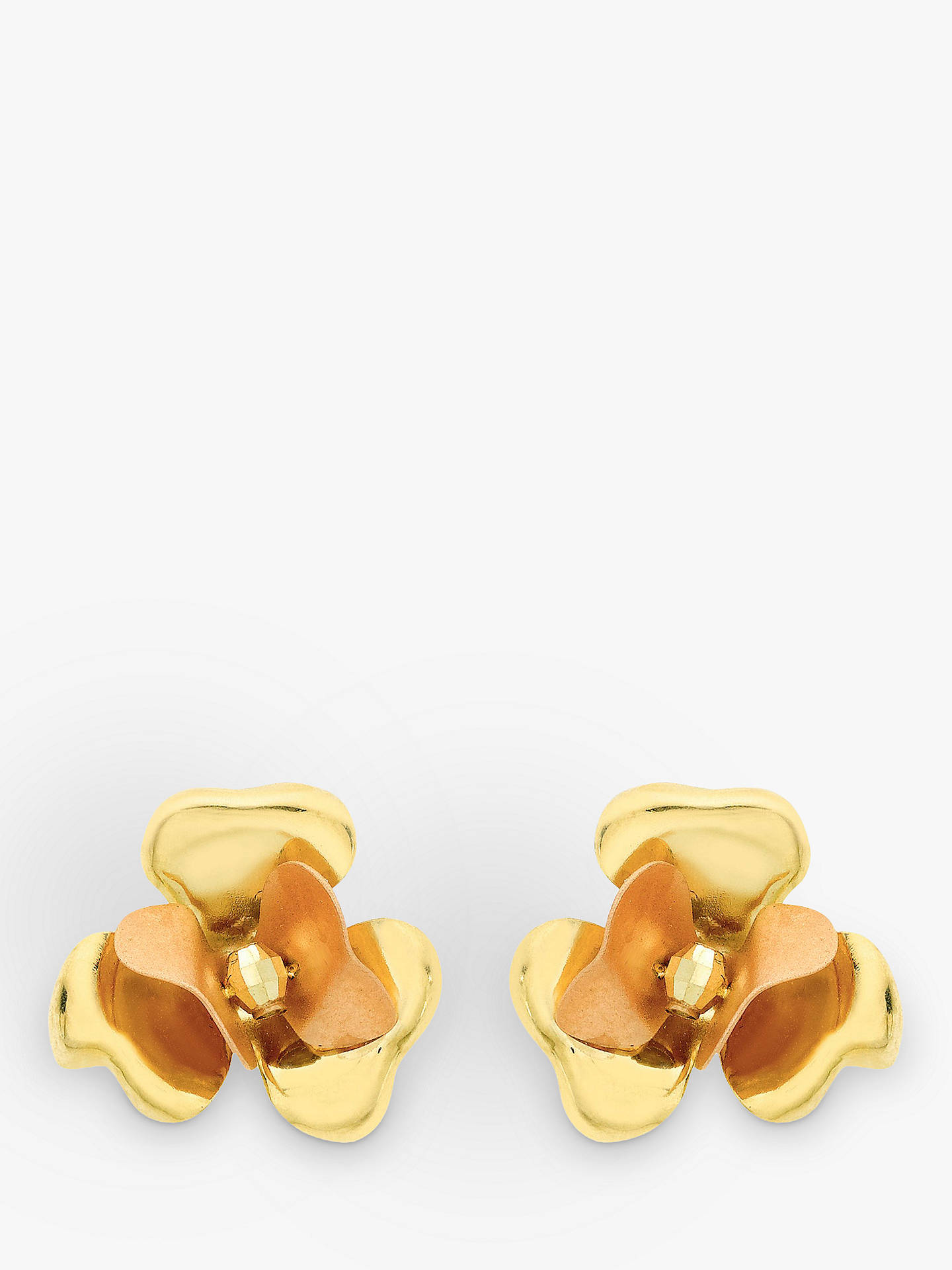 4dd0af664 Buy IBB 9ct Yellow Gold Flower Stud Earrings, Yellow Gold Online at  johnlewis.com ...