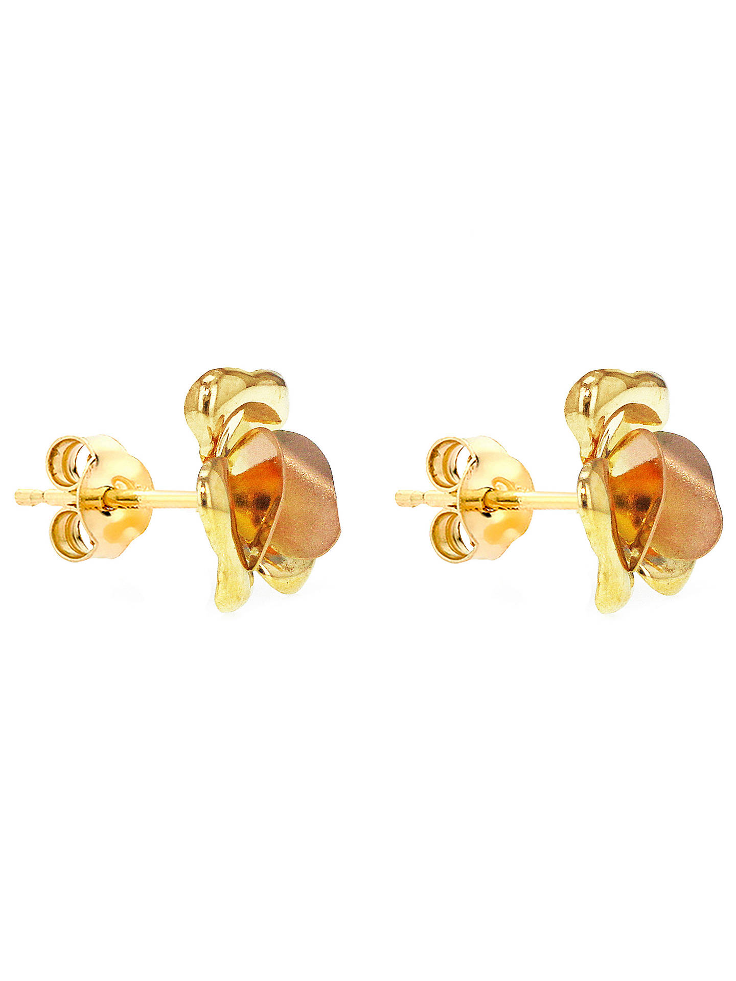 Ibb 9ct Yellow Gold Flower Stud Earrings Online At Johnlewis