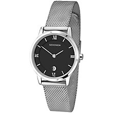Buy Sekonda 2102.27 Women's Date Mesh Bracelet Strap Watch, Silver/Black Online at johnlewis.com