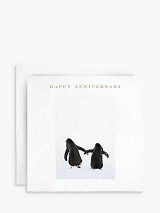 Susan O'Hanlon Penguins Holding Hands Anniversary Card