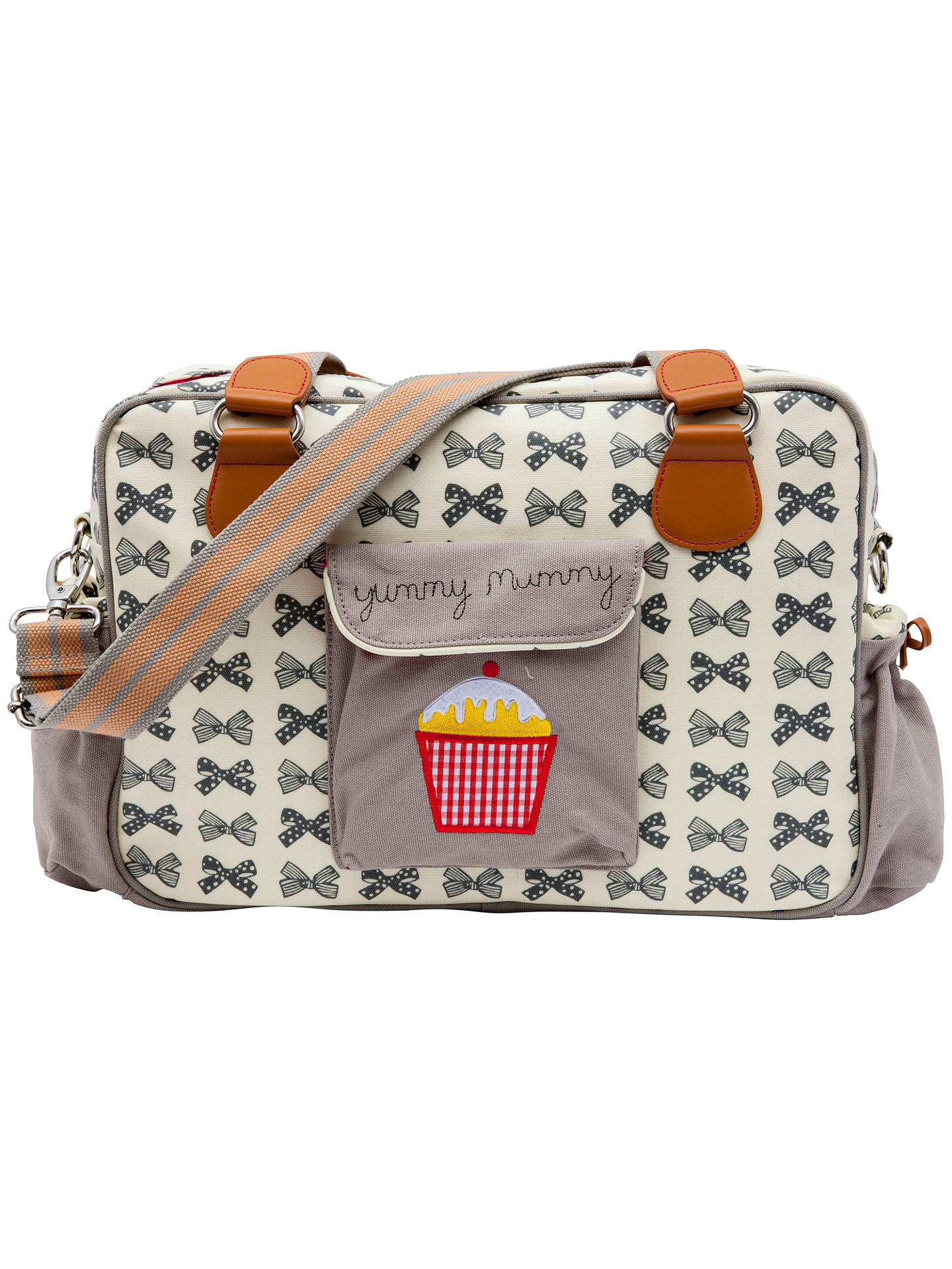b81c7e2ee0 Buy Pink Lining Yummy Mummy Bow Print Changing Bag, Grey Online at  johnlewis.com ...