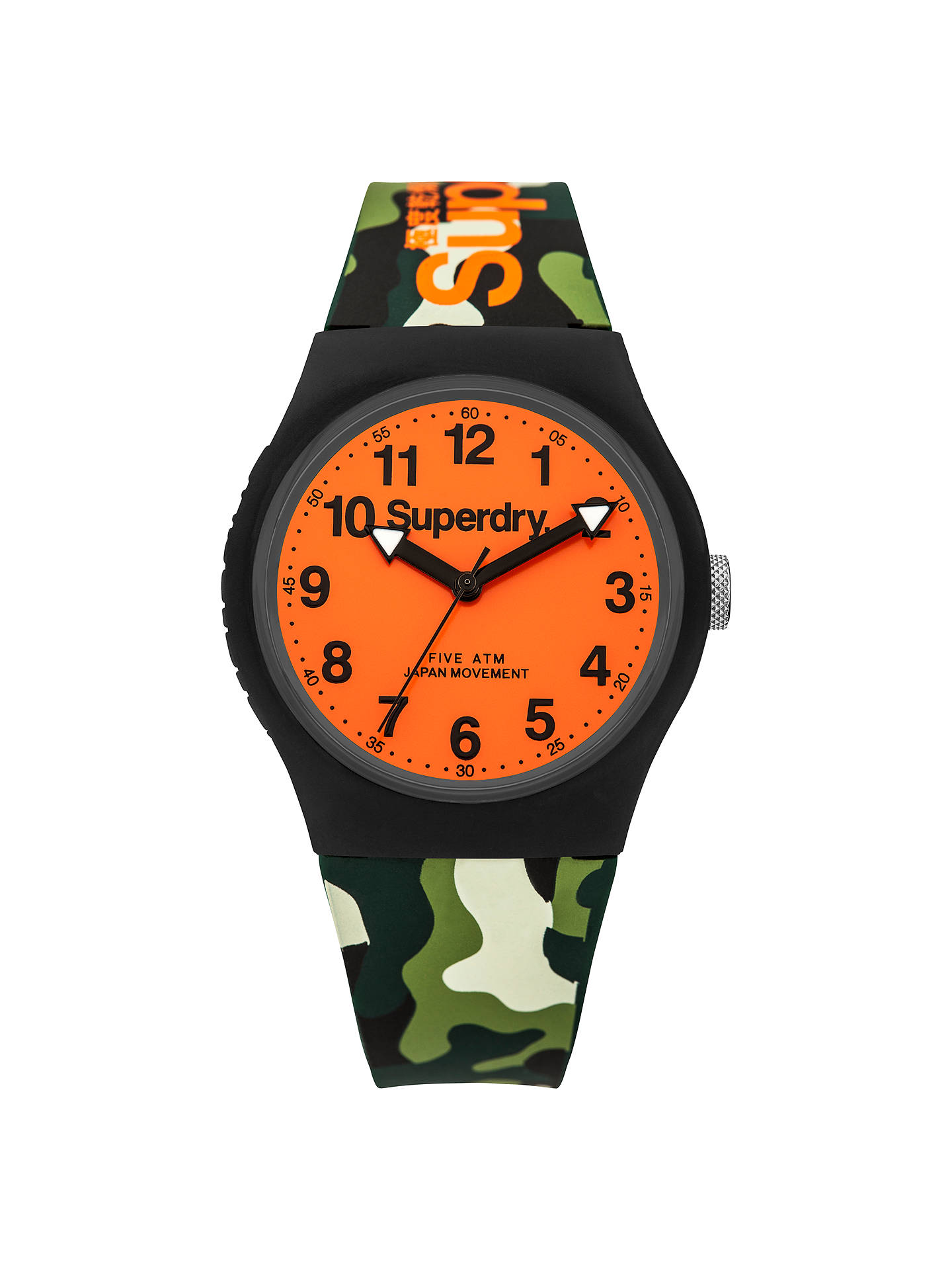 Superdry Syg164no Unisex Urban Silicone Strap Watch Camouflage Green Orange