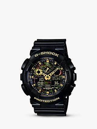 Casio GA-100CF-1A9ER Men's G-Shock Alarm Chronograph Resin Strap Watch, Black/Amber