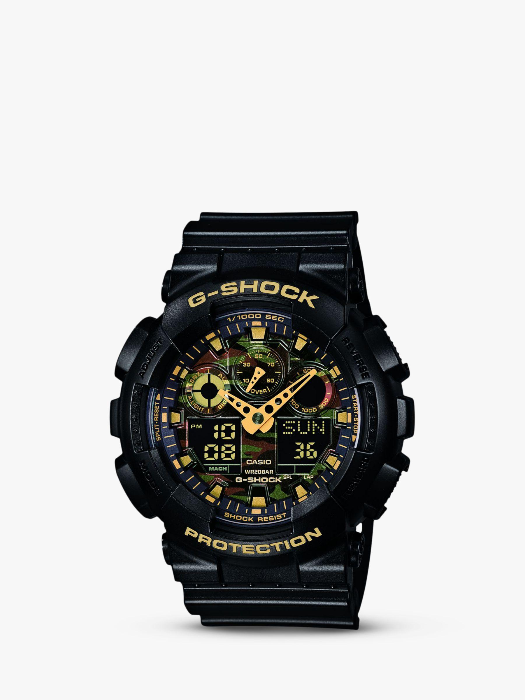 Casio Casio GA-100CF-1A9ER Men's G-Shock Alarm Chronograph Resin Strap Watch, Black/Amber