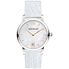 Buy Montblanc 108765 Women's Star Classique Lady Stainless Steel Alligator Leather Strap Watch, Mother of Pearl Online at johnlewis.com