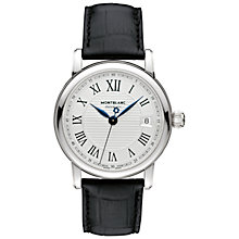 Buy Montblanc 107115 Men's Star Date Automatic Stainless Steel Alligator Strap Watch, Black/Silver Online at johnlewis.com