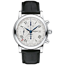 Buy Montblanc 107113 Men's Star Chronograph UTC Automatic Alligator Strap Watch, Black/White Online at johnlewis.com