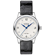 Buy Montblanc 111055 Women's Bohème Diamond Date Automatic Alligator Strap Watch, Black/White Online at johnlewis.com