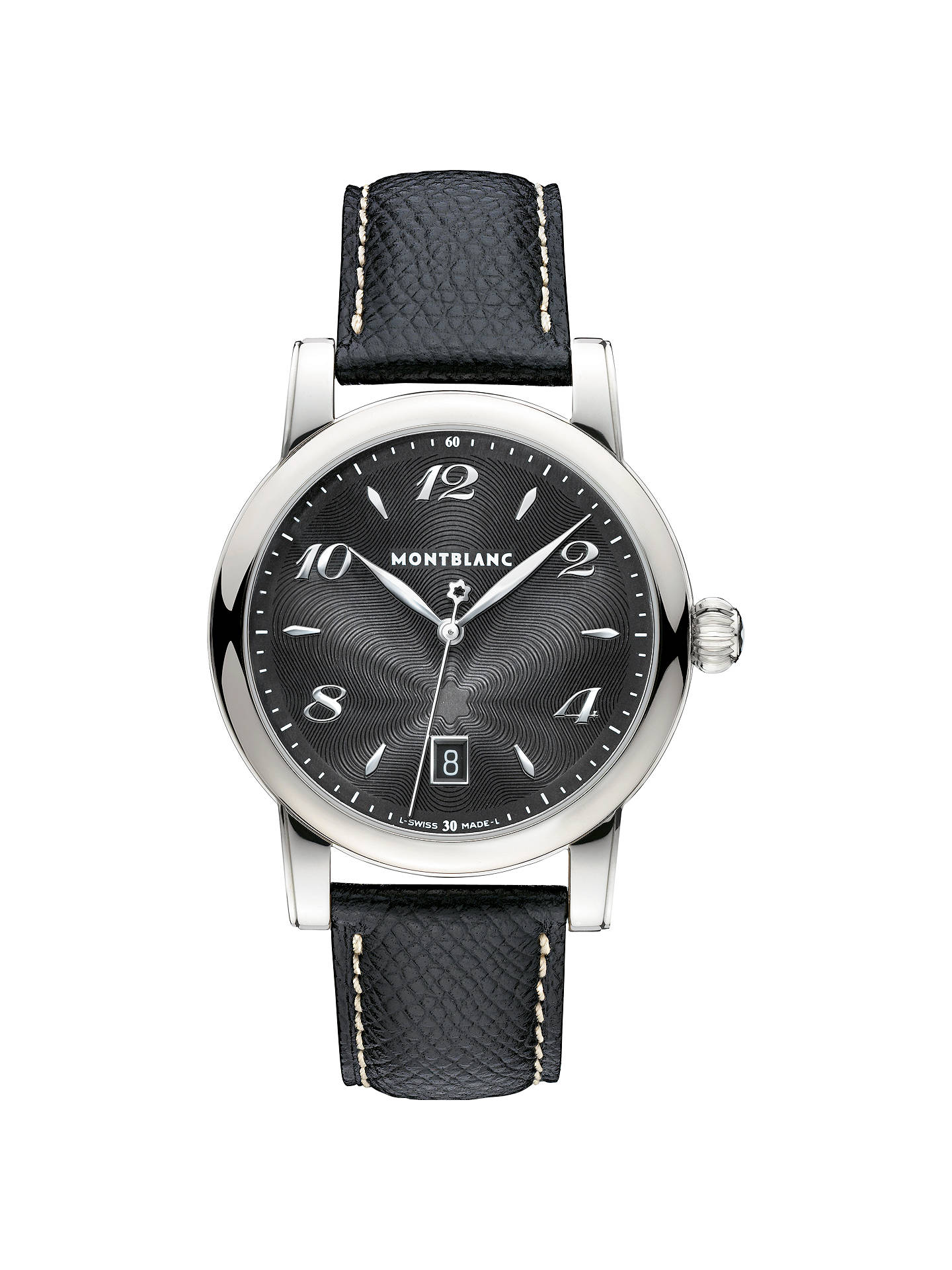 4f324735788 Buy Montblanc 108763 Men's Star Date Stainless Steel Leather Strap Watch,  Black Online at johnlewis
