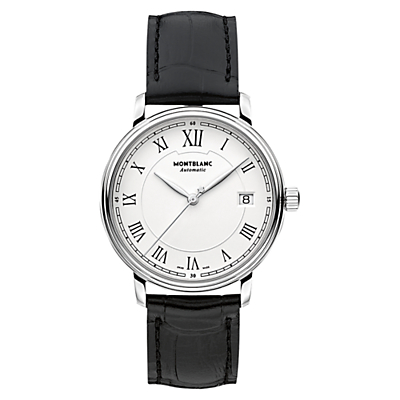 Montblanc 112611 Unisex Alligator Leather Strap Watch, Black/White