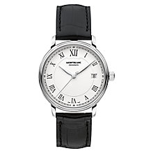 Buy Montblanc 112611 Unisex Alligator Leather Strap Watch, Black/White Online at johnlewis.com