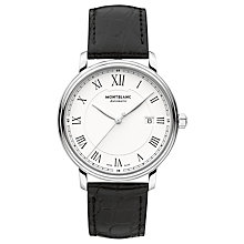 Buy Montblanc 112609 Men's Tradition Date Automatic Alligator Leather Strap Watch, Black/White Online at johnlewis.com