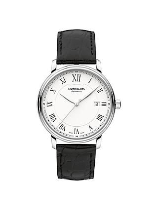 Montblanc 112609 Men's Tradition Date Automatic Alligator Leather Strap Watch, Black/White