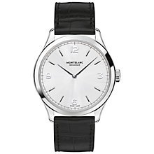 Buy Montblanc 112515 Men's Heritage Chronométrie Ultra Slim Alligator Leather Strap Watch, Black/Silver Online at johnlewis.com