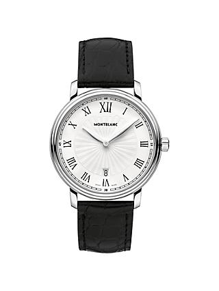 Montblanc 112633 Men's Tradition Date Alligator Leather Strap Watch, Black/White