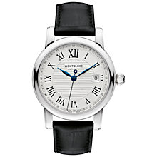 Buy Montblanc 107114 Men's Star Date Automatic Alligator Leather Strap Watch, Black/Silver Online at johnlewis.com