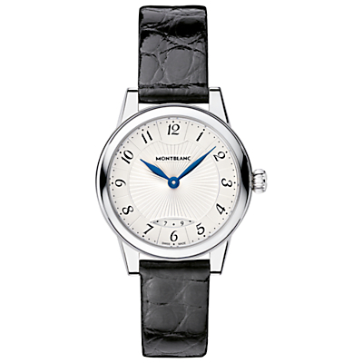 Montblanc 111206 Women's Bohème Date Alligator Leather Strap Watch, Black/White