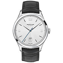 Buy Montblanc 112533 Men's Heritage Chronométrie Alligator Strap Watch, Black/Silver Online at johnlewis.com