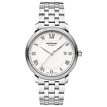Buy Montblanc 112610 Men's Tradition Automatic Date Bracelet Strap Watch, Silver/White Online at johnlewis.com